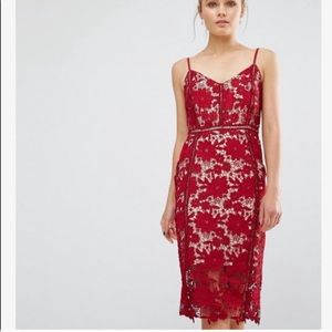 ISO ASOS RED LACE DRESS SIZE 8